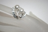 Charles Winston Simulated White Pearl & Clear CZ Ring