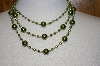 **MBA #19-281B  Majestic 3 Row Two Tone Green Simulated Pearl Necklace & Matching Earrings
