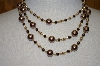 **MBA #19-291  Majestic 3 Row Two Tone Brown Simulated Pearl Necklace & Matching Earrings