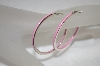 **MBA #19-210  Sterling Pink Enameled Hoop Earrings