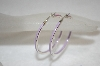 **MBA #19-214  Sterling Lavender Enameled Hoop Earrings