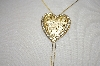 Gold Plated Crystal Heart Ladies Bolo Style Necklace