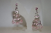 Pink Crystal & Acrylic Dangle Earrings