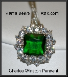 Charles Winston Square Cut Green CZ Necklace