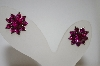 Dark Pink Crystal Flower Earrings