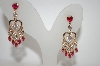 +MBA #19-108  Gold Plated Clear & Red CZ Heart Dangle Earrings