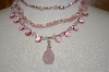Mystique New York Pink Gemstone & Acrylic 3 Row Necklace