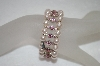 **MBA #19-195  Set Of 2 Kirks Folly Pink GLass Pearl & Crystal Stretch Bracelets