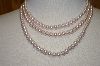 **MBA #19-148  Pale Pink 3 Row Glass Pearl Necklace