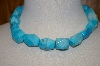 **MBA #19-139  Turquoise Blue Dyed Howlite Fancy Cut Necklace