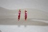 **MBA #19-192  14K Over Silver Created Ruby Small Hoops