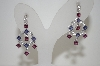 **MBA #19-229  Platinum Plated Iolite, Rhodolite & White Zircon Dangle Earrings