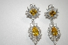 **MBA #19-100  Elegant Canary & Clear Cz Dangle Earrings