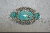 ** Artist Signed 3 Stone Blue Turquoise Pin
