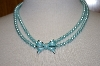 **MBA #19-604  Majestic 2 Row Blue Simulated Pear Necklace With Enameled Bow