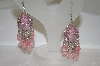 Pink Crystal & Acrylic Bead Chain Earrings