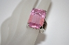 Large Square Cut Pink CZ Ring