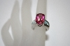 **MBA #19-551  Platinum Plated Cushion Cut Rhodolite & Blue Zircon Ring
