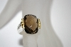 **MBA #19-558  Platinum Plated/18K Cushion Cut Smokey Quartz Ring