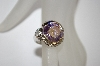 Silver Plated Round Cut Lavender & Clear CZ Ring