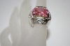 +MBA #19-475  Large Pink & Clear Cz Silver Plated Ring