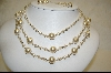**Majestic Simulated White Pearl 3 Row Necklace W Matching Pierced Earrings