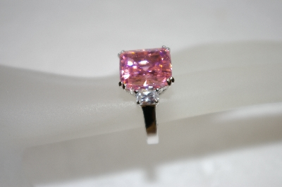 **MBA #19-369  Square Cut Pink & Clear CZ Ring