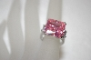 Square Cut Pink & Clear CZ Ring
