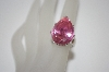 Large Pear Cut Pink CZ Ring