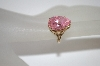 10K Yellow Gold Pear Cut Pink CZ Ring