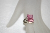 Simple Square Cut Pink CZ Ring & Matching Earrings