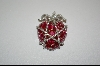 """ SOLD"" Charles Winston Created Ruby ""Heart"" & Clear CZ Pendant"