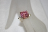 **MBA #19-047  14K Plated Sterling Pink & Clear CZ Ring