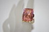 14K Plated Sterling Large Square Cut Pink CZ Ring