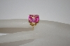 Fancy Setting 14K Plated Pink CZ Ring