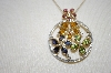 "**MBA #19-612  14K Multi Gem & Diamond Pin Pendant With 18"" Chain"