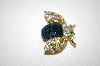 **MBA #19-434  Gold Plated Blue & Clear Crystal Bee Pin