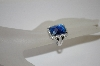 *MBA #19-496  Charles Winston Blue Cushion Cut CZ Ring