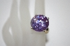 Large Round Cut Lavender CZ Ring