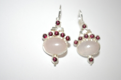 +MBA #19-418  Rose Quartz & Garnet Earrings