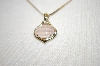 **MBA #19-415  14K Fancy Cut Rose Quartz & Diamond Pendant