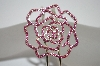 **MBA #19-458  Pink Crystal Rose Spring Loaded Cuff Bracelet
