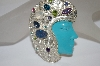 **MBA #19-459  Sterling Turquoise Face & Multi Gem Pin/Pendant
