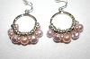 **MBA #19-463  Majestic Pale Two Tone  Pink Simulated Pearl Earrings