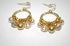 Majestic Gold & Cream Colored Simulated Pearl Earrings