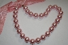 Light Pink Large Acrylic Pearl Necklace With Ribbion Tie