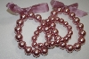 **MBA #19-276  Set Of 3 Mauve Acrylic Pearl Stretch Bracelets