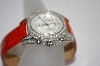 *MBA #19-638  Lucien Piccard 2ct  Diamond Red Leather Strap Watch
