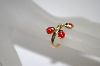 +MBA #19-624  14K Yellow Gold Red Enameled Lady Bug Ring