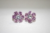 "Designer ""FAS"" Pink & Clear CZ Flower Earrings"